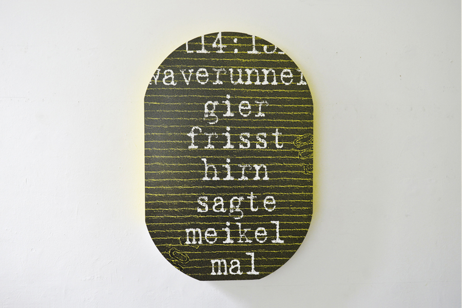 Beate Baumgärtner, Chatbook, Gier in der Ausstellung Präsenz, Kritik, Utopie